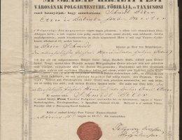 Egy zsidó polgár pesti letelepedési engedélye 1841-ből
