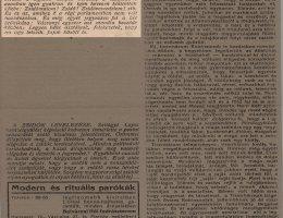 Beszámoló a Zsidó Szemle című lapban Vázsonyi első parlamenti beszédéről az emigrációból való hazatérése után